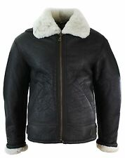 Mens Vintage Winter Real Sheepskin Leather Aviator Flying Jacket Brown & Cream