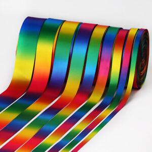 50 Yards Rainbow Satin/Grosgrain Ribbon Double Sided 9/13/16/22/25/28/38/50 mm