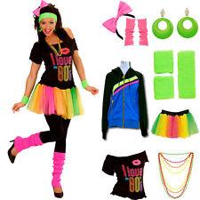 80er Jahre Party Kostüm für Damen mit Modeschmuck neon, 80s Verkleidung Kleidung