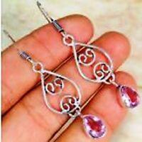 Quartz Pink Topaz & 925 Silver Handmade Beautiful Earrings 55mm G82-34313