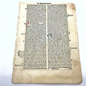 RARE 1487 Incunable Early Bible Leaf From Revaluation Apocalypse Manuscript