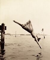Woman Diving from Pier, Coney Island 1892 J.S. Johnston Vintage Photo Reprint
