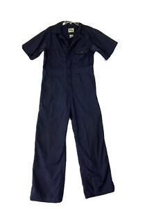 Key coveralls navy short sleeve zip elastic waist mens Small jumpsuit mechanic