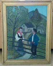 Peinture naïve Pyrénées, Basque ou Béarn Femme et Homme adossés. Lombard 1949