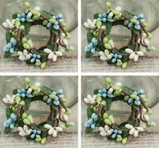 "Pip Berry Taper Candle Rings Set/4 Aqua Blue Mint Green Ivory Primitive Decor 1"""