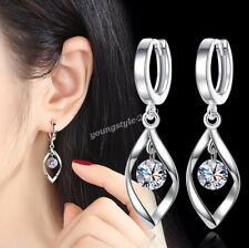 925 Sterling Silver Women Twist Crystal Snap Closure Drop Dangle Earrings Gift