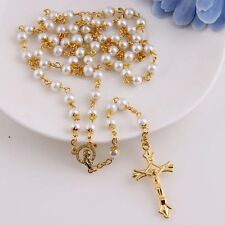 White Black Glass Pearl Beads Catholic Rosary Italy Cross Crucifix Necklace