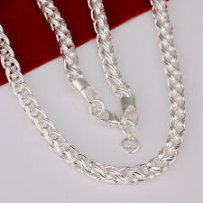 """925 Sterling Silver Filled 6MM Polished Twisted Rope Solid Charm Necklace 20"""""""