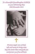 Personalised A5 Christening Baptism Naming Day Card Pink Daughter Granddaughter
