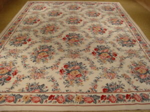 Ivory Flat-Woven Rug 9 x 12 Needlepoint All-Over Floral Bouquet Rug