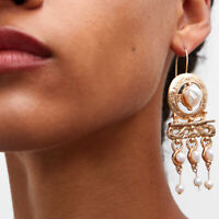Retro Women Fashion Pearl Gold Alloy Pendant Statement Party Dangle Drop Earring