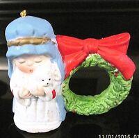Vintage Jasco 1980's CHRISTMAS Shepard Lamb Wreath Bell Ornament