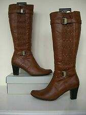 Tamaris mid tan buckle ruched detail leather Boots size 40
