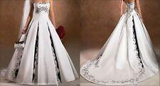 2015 Neues Design Weiß+ Schwarz Brautkleid, Hochzeitskleid Maßgeschneidert++