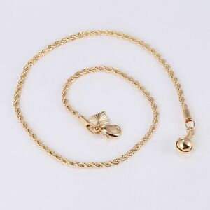 """9K 9ct Yellow """"Gold FILLED"""" Ladies Heart & Bell  ANKLE CHAIN ANKLET. 10.6"""" Gift"""