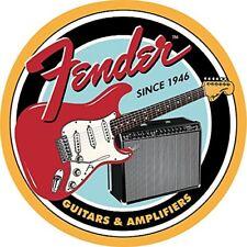 "Fender Guitars & Amplifiers 12"" Round Tin Sign Nostalgic Metal Sign Retro Decor"