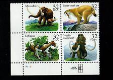 ALLY'S STAMPS US Plate Block Scott #3077-80 32c Prehistoric Animals [4] MNH STK