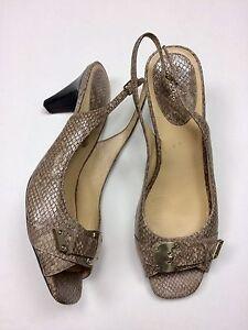 Cole Haan 11AA Tan Faux Snake Leather Slingback Pumps Heels Gold Buckle N. Air