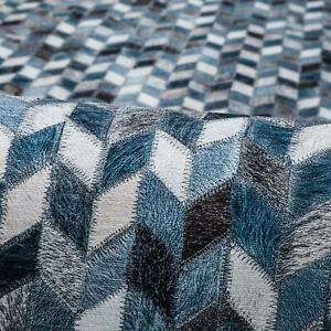 Deal Large Floor Rug Blue Grey Charcoal Herringbone Hides Warm Carpet 200x290cm