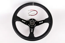 "14""/350mm Black PVC Racing Steering Wheel With Horn Button Universal fit modify"