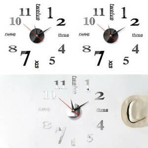 3D Large DIY Wall Clock Mirror Sticker Luxury Number Clocks Decor Office Room