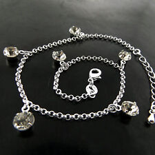 ANKLET GENUINE REAL 925 STERLING SILVER S/F DIAMOND SIMULATED BEAD BELCHER LINK