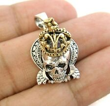 ROYAL GOLD CROWN SKULL 925 STERLING SILVER PENDANT NEW