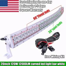 White 20inch 120W LED Work Light Bar Offroad Light Curved Truck SUV Driving 22