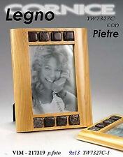 Cornice portafoto cm9*13 in legno chiaro con pietre