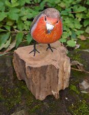 Hand painted Robin Red Breast Garden Bird hand carved British Bird Ornament