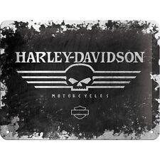 Targa in Latta Vintage  Harley-Davidson Skull in metallo stampato 15 x 20