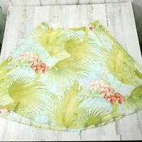 Tommy Bahama Womens 10 Silk Aqua Green Coral Floral Hawaiian Flowy Flared Skirt