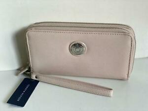 NEW TOMMY HILFIGER BLUSH PINK DOUBLE ZIP LEATHER CLUTCH WALLET WRISTLET $58 SALE