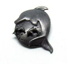 "1.5"" Black Plated Jumping Porpoise Pin w 3/8"" Earrings~Dolphin~Baby~Bro och Set"