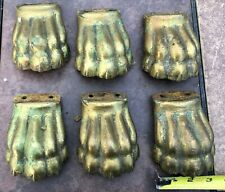 6 Large Antique Solid Brass Lions Paw Feet Hardware- Steampunk Brass Hardware