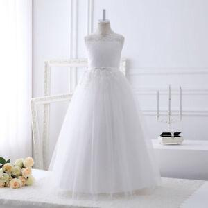 Lace White Flower Girl Dresses Sleeveless Floor Length First Communion Gowns