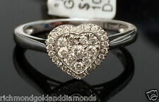 White Gold Heart Halo Antique Vintage Style Diamonds Engagement Promise Ring
