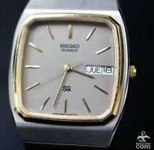 Vintage Seiko Quartz 4J Date Day Two Toned St. Steel Men's Watch w/Box 8223-5139