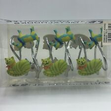 12 Ct Creative Bath Decorative Metal Shower Curtain Hooks Dogs Cats Green Blue