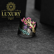 Natural Amethyst Handmade Enamel 925 Sterling Silver Statement Ring for Women