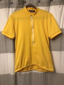Aero Tech Men's Solid Color Cycling Jersey Yellow Made in USA.  Size Large