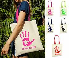 #Autism Contrast Handles Bag, Autism Awareness Autistic Canvas Women Tote Bags