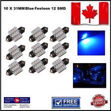 10 X Festoon Xenon Blue 31mm LED Dome Light Bulb 12 SMD LED chips Interior 3528