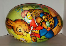 Vintage X-Lg Paper Mache Bunny Easter Egg – Made in Germany – Paper Lace Lining