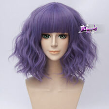 Vogue  Purple Lolita Short Curly Fringe Bangs Women Cosplay Wigs Heat Resistant