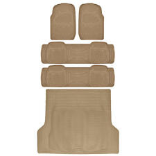 5 Pieces BDK WeatherPlus Series All Weather Rubber Mats for SUV Truck Van, Tan