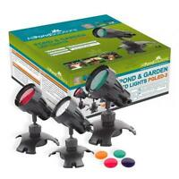 Underwater Submersible Pond and Garden light set of 3 LED Lights and lenses