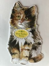 Carol Wilson Card Happy Get Well Soon Kitten Cat Calico Tabby Diecut Embossed