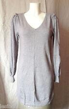 Robe pull, grise, décolleté en v, Cashmere Cotton, T 1.