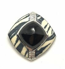 Sterling 925 Black Onyx CZ Accent Gray Cream Zebra Print Enamel Striped Pendant